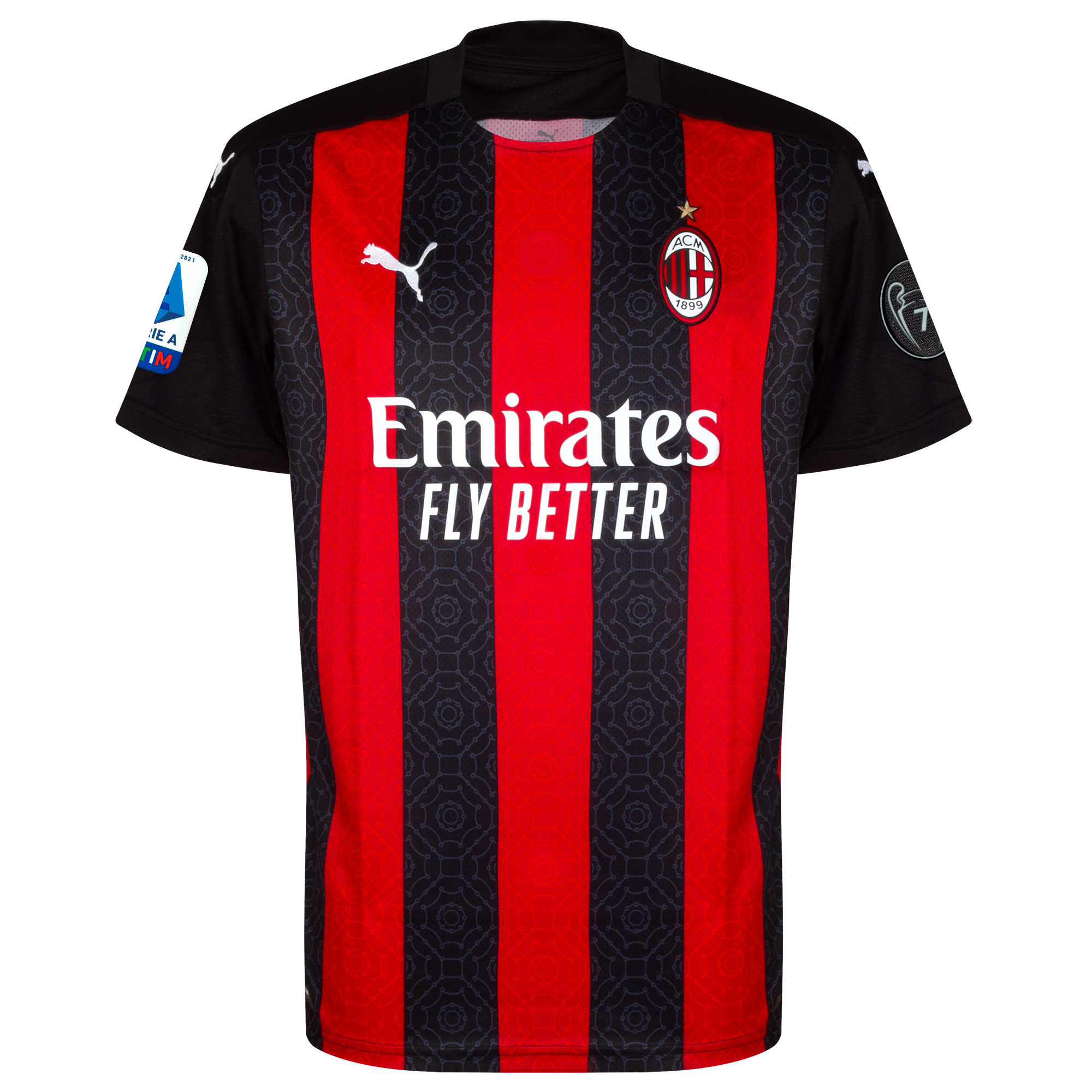AC Milan Shirt Thuis 2020-2021 + Serie A & UCL 7 Times Trophy Badge