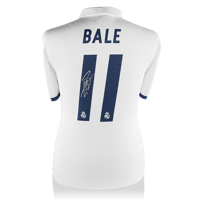 Gareth Bale Back Signed Real Madrid Home Shirt 16-17 Official Style