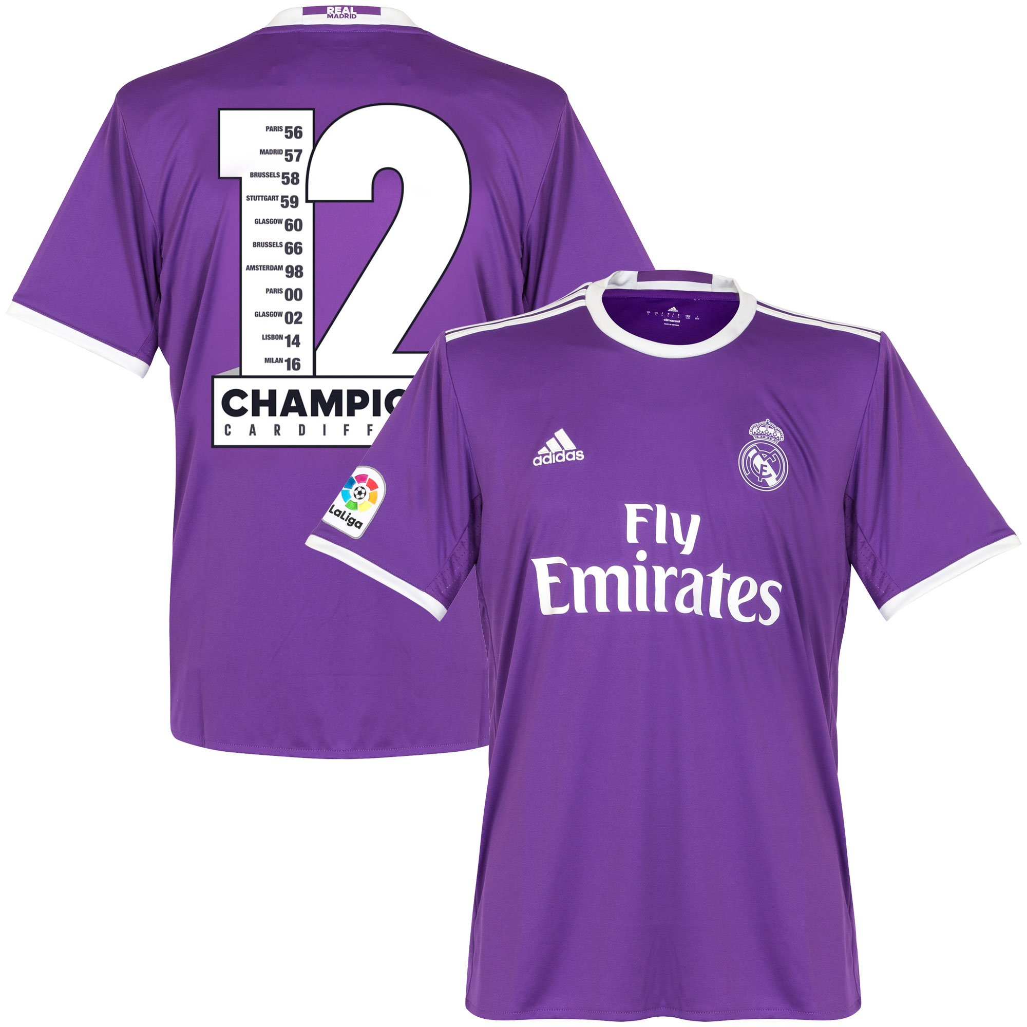 16-17 Real Madrid Away Shirt incl. Official Champions 12 Print