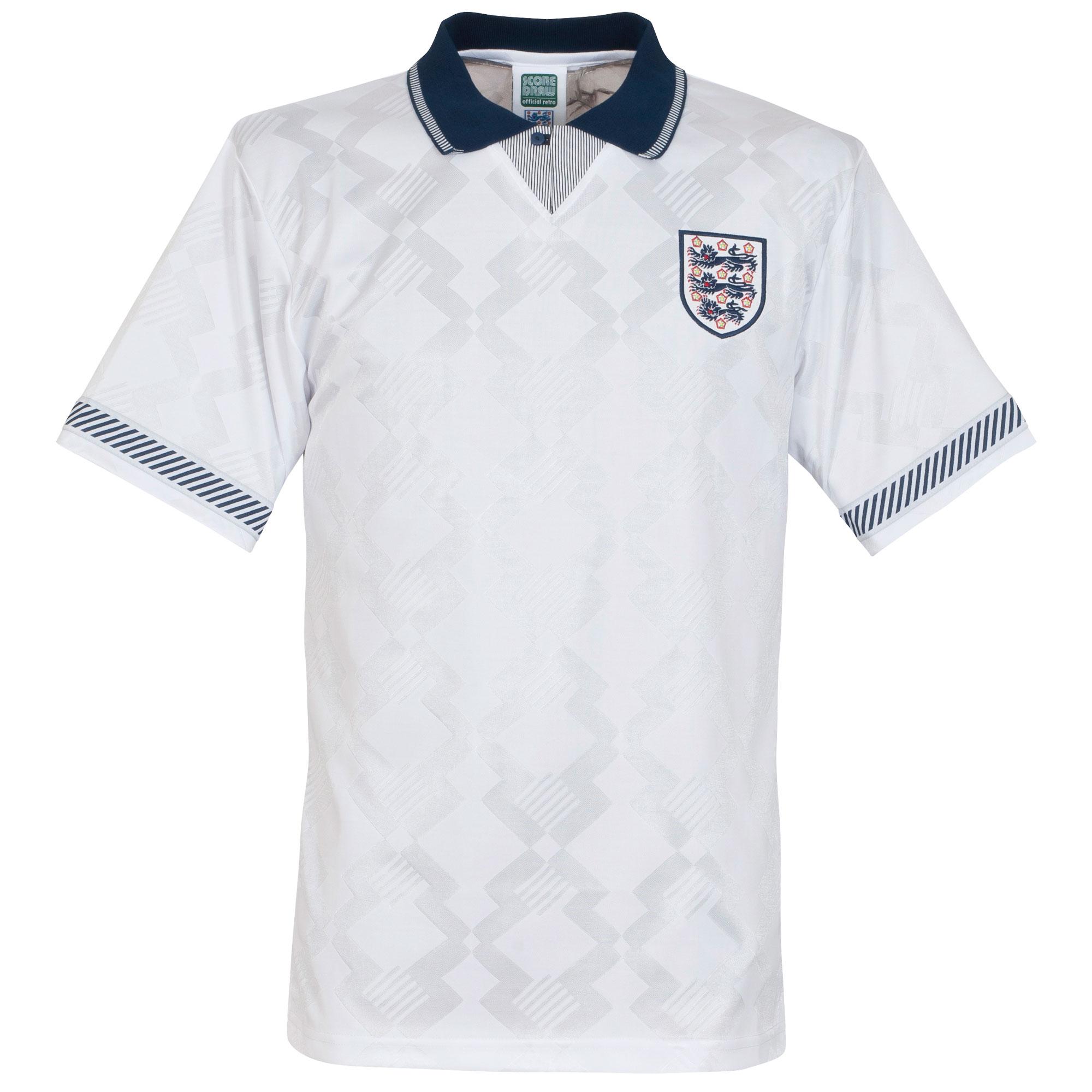 Score Draw England Home Retro Shirt World Cup 1990