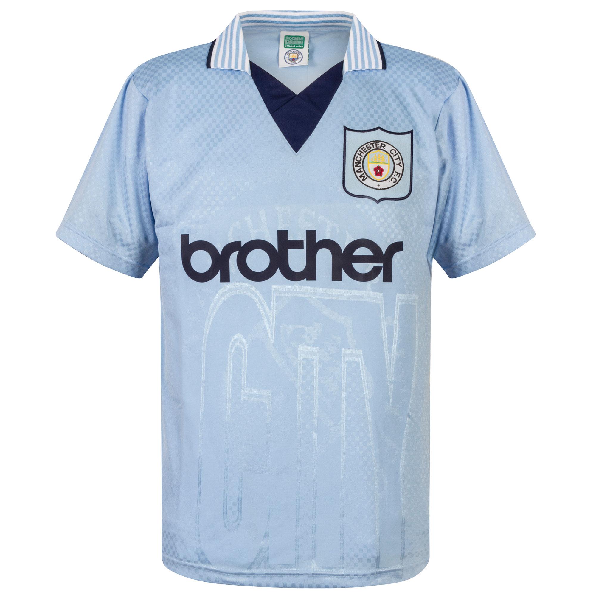 Score Draw Man City Home Retro Shirt 1995-1996