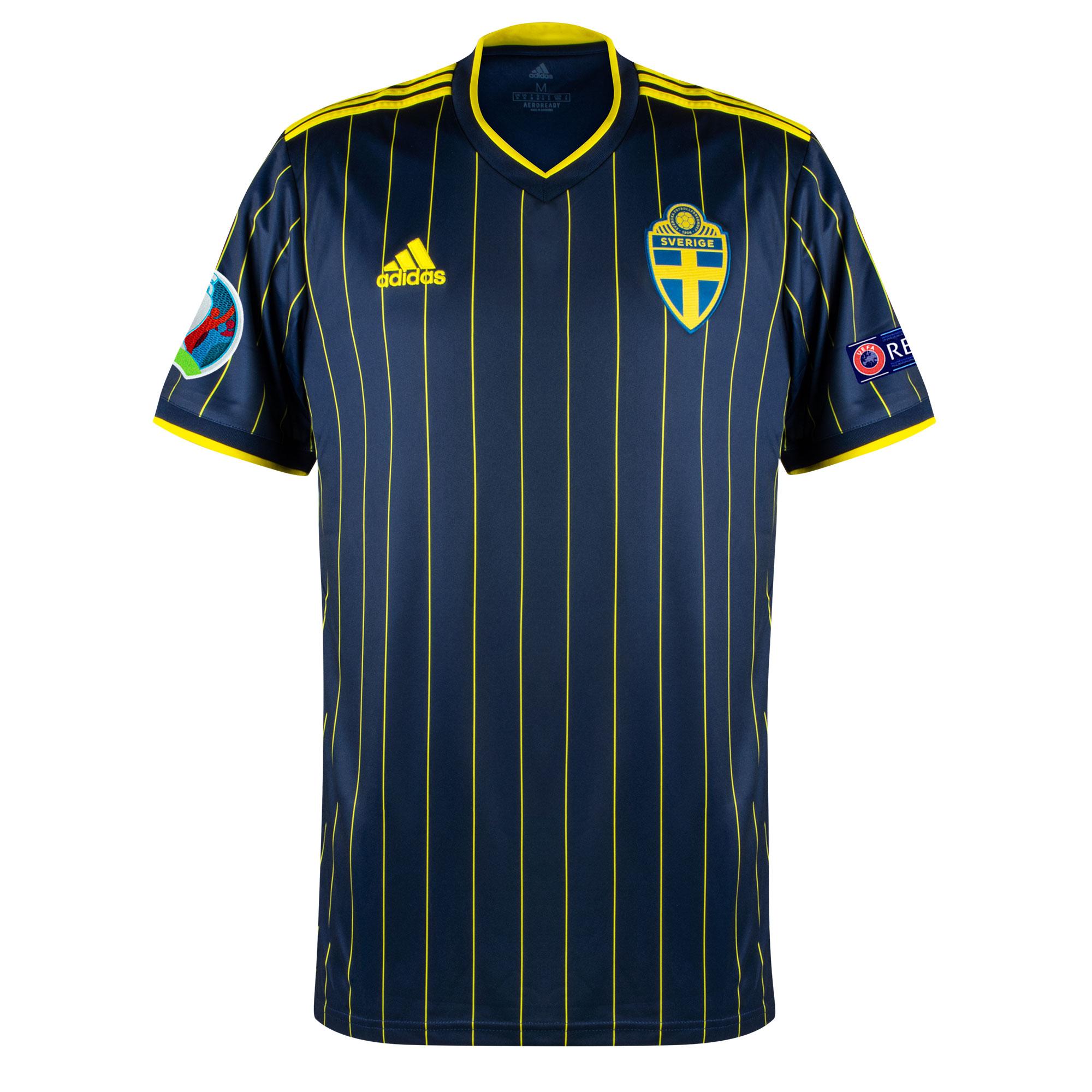 adidas Sweden Away Shirt inc. Official Euro 2020 & Respect Patches