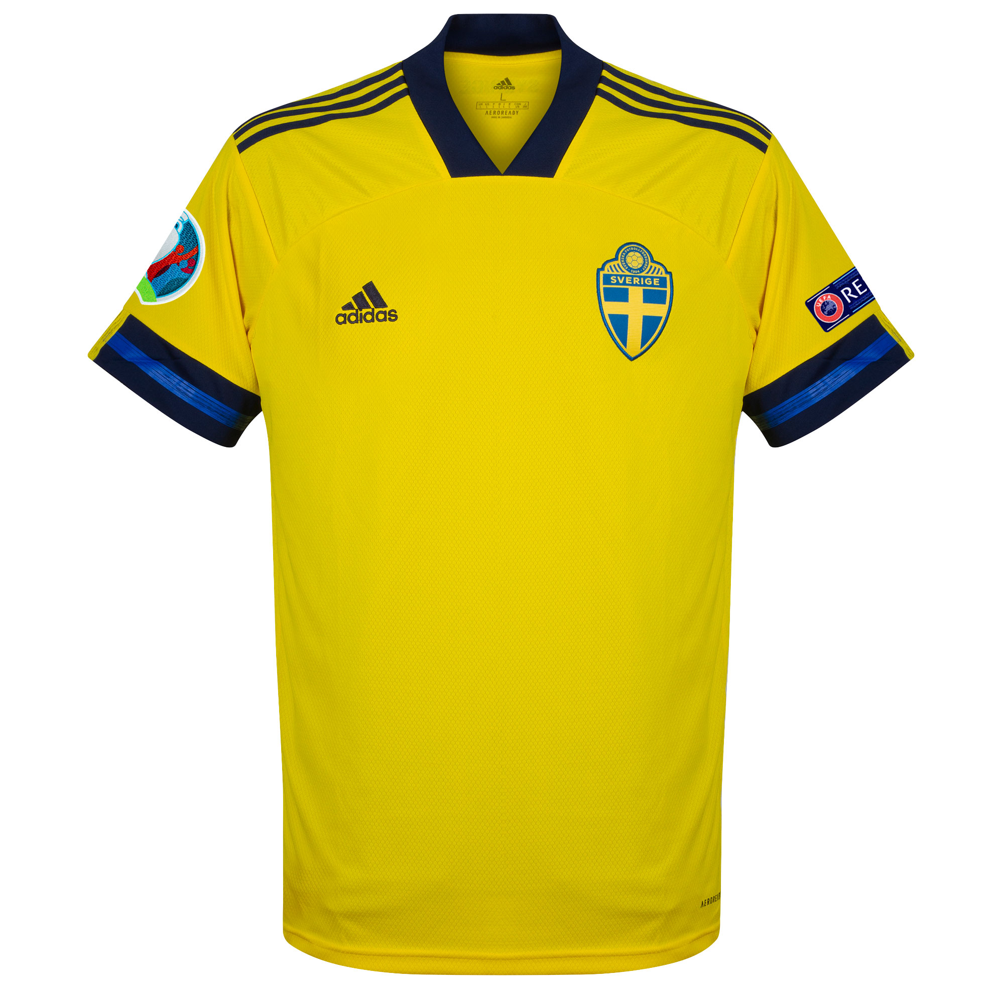 adidas Sweden Home Shirt inc. Official Euro 2020 & Respect Patches